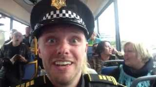 Icelandic police officer on a fun bus ride - Watch to the end