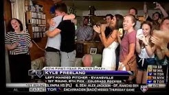 Kyle Freeland from University of Evansville selected 8th overall by Rockies. Courtesy MLB Network.