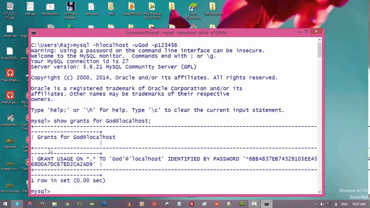 4  Show + Grant + Revoke Access in MySql Server || command prompt and mysql  tutorial