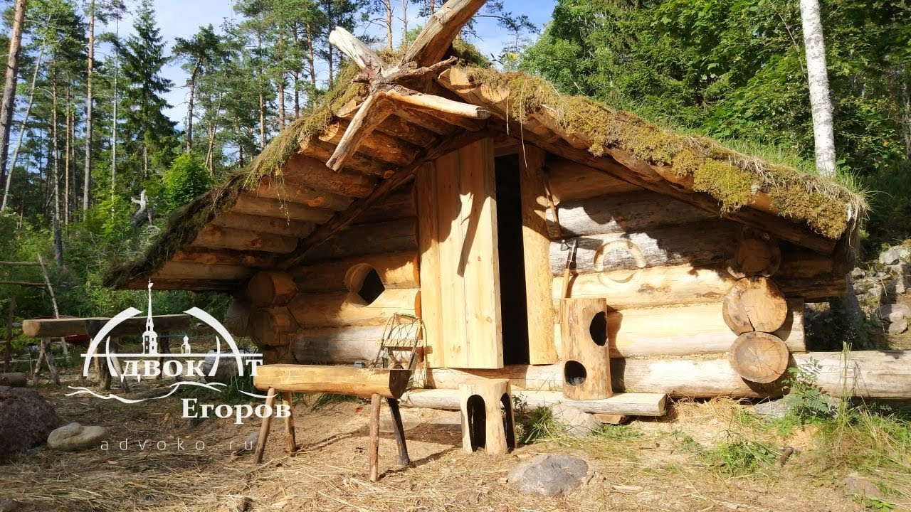 Off Grid Log Cabin Built by One Man: Making a Bear Escape Door?