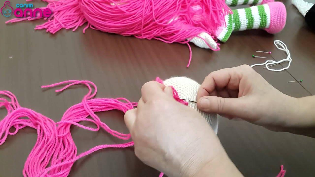 Amigurumi Bebekte Saç Yapımı : Şeker kız saç ekimi yapılışı Örgü oyuncak amigurumi canım anne