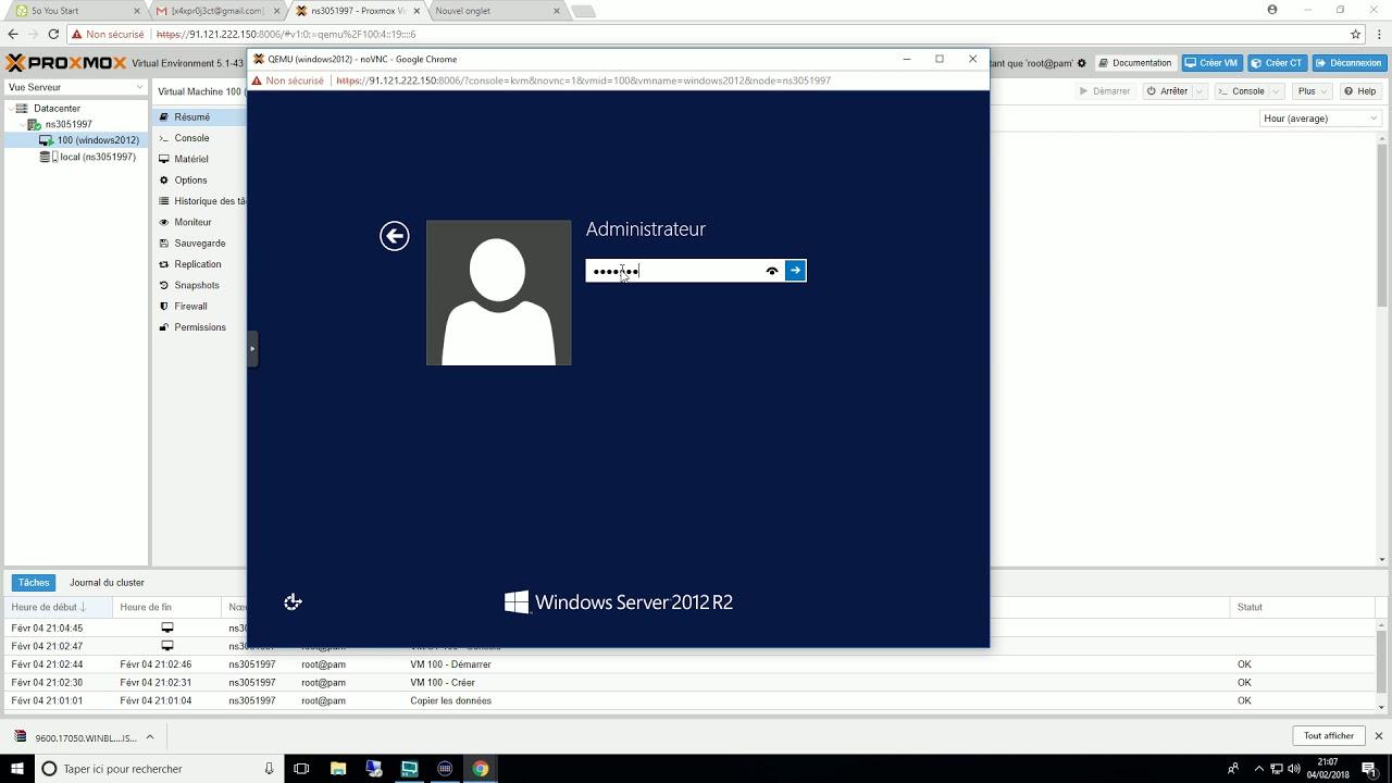 [FR]Installation de Windows serveur 2012 Sur Proxmox VE 5