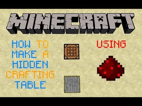 Minecraft tutorial how to make a hidden crafting table for How to draw a crafting table