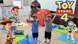Giant Board Game Challenge with Toy Story 4 Movie Toys and Toy Master - Chase and Cole Adventures