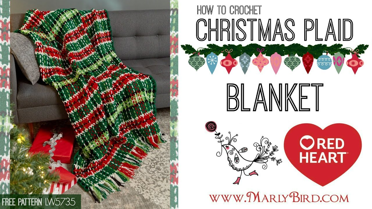 Christmas Crochet Blanket Free Pattern.How To Crochet Christmas Plaid Afghan