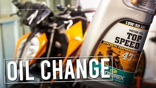 Oil Change time for the Duke 390  How to Change Motorcycle Oil TLC Time
