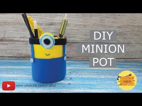 Make Minion Pencil Pot For Kids Cara Membuat Tempat Pensil Minion