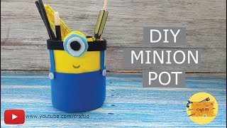 TEMPAT PENSIL MINION DARI BOTOL PLASTIK/TOPLES |MAKE MINION POT FOR KIDS