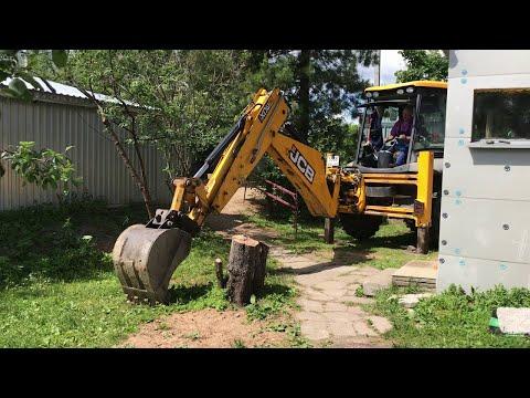 JCB 3CX Корчую пни на экскаваторе погрузчике Видео про трактор