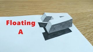 Floating A / How to draw alphabet A in 3D effect / Anamorphic alphabet A