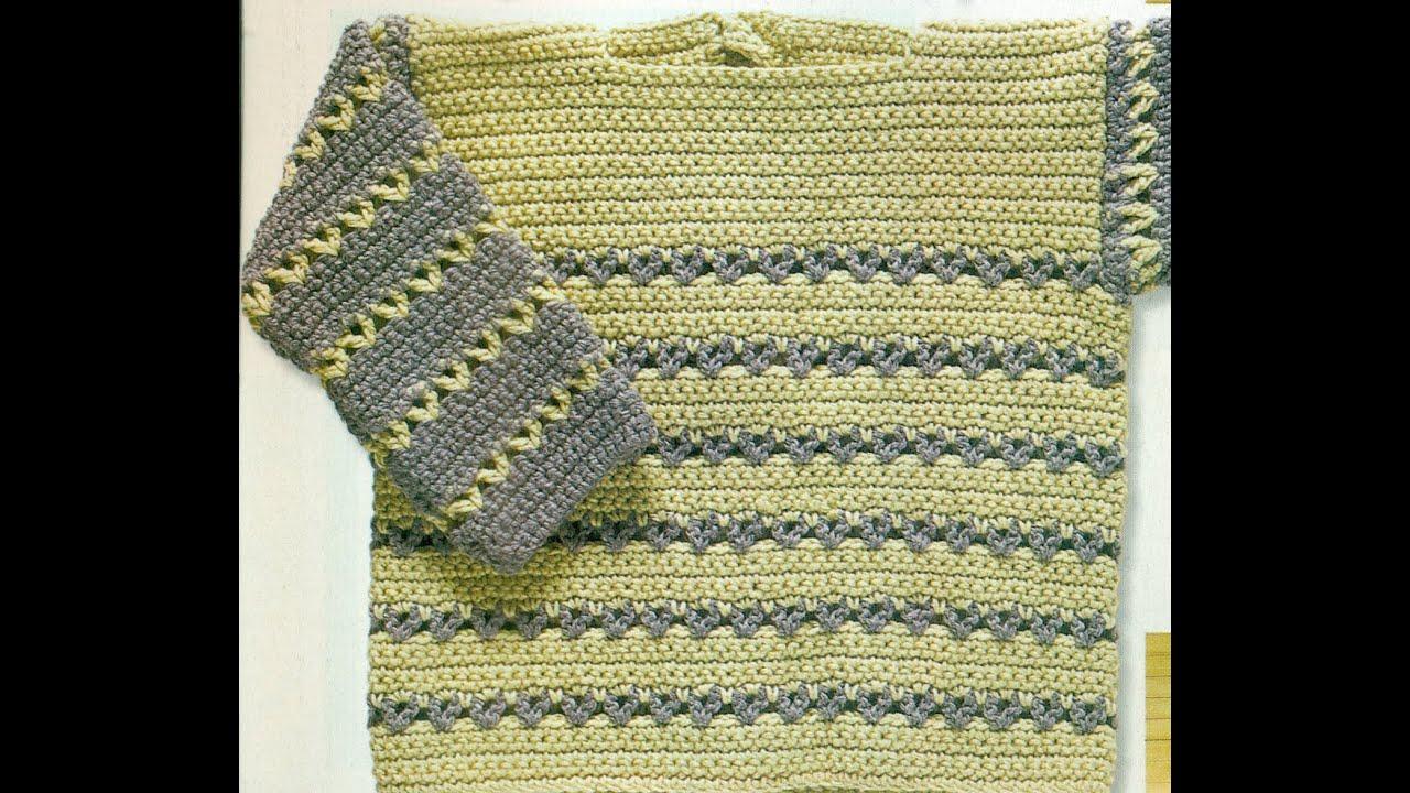 Patrón Para Tejer Suéter Bicolor Para Bebé a Crochet - YouTube