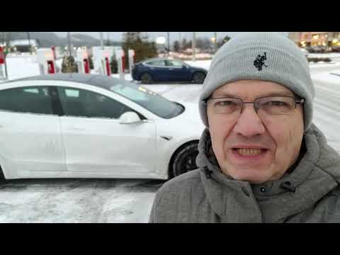 Review of Tesla Supercharger in Mont-Tremblant, Quebec