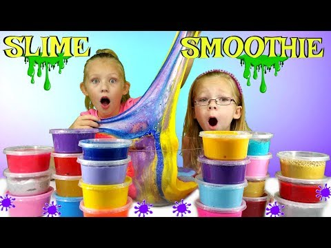 Mixing ALL MY SLIMES Giant DIY Slime Smoothie