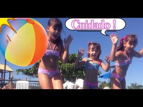 BRINCANDO NA PISCINA pool challenge - 3 irmãs demais