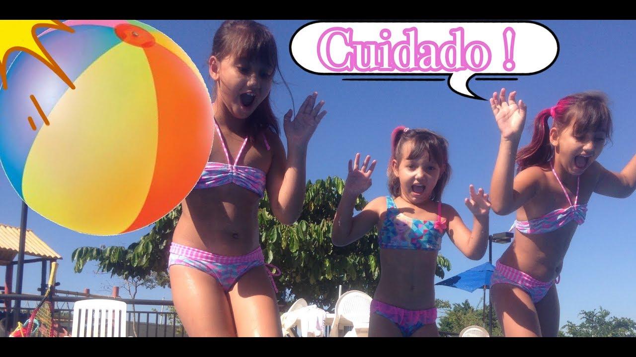 DESAFIO DA PISCINA pool challenge / DESAFIO BOLA GIGANTE - 3 irmãs demais