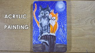 Cats in Love - Easy Acrylic Painting