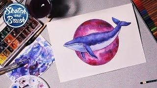 Уроки рисования: Как нарисовать кита. Как рисовать акварелью.