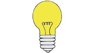 How to Draw a Light Bulb Easy step by step / Как нарисовать лампочку