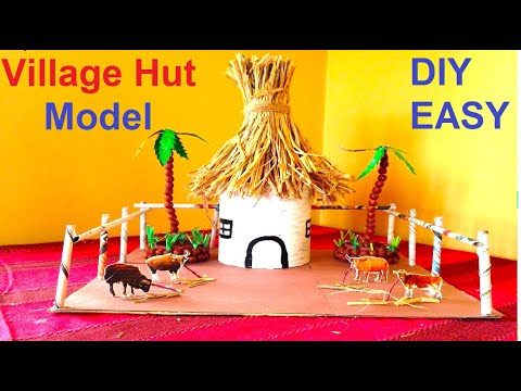 how to make village hut model for competition | exhibition | school project using waste materials
