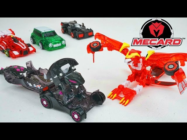 NEW Mecard! Transforming Robot Cars Battle Game Phoenix Venoma Yurl Mecardimals in Slow Motion