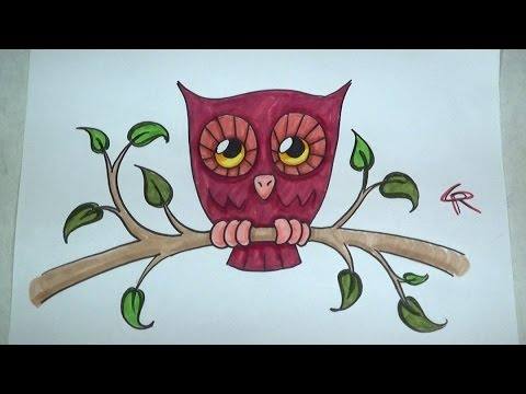 Learn How To Draw And Color A Cute Owl -- Part 2 -- ICanHazDraw! - YouTube