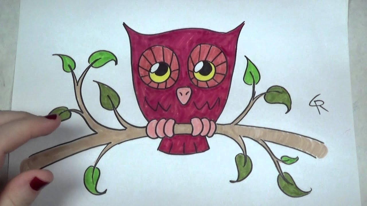 Learn How To Draw And Color A Cute Owl Part 2 ICanHazDraw