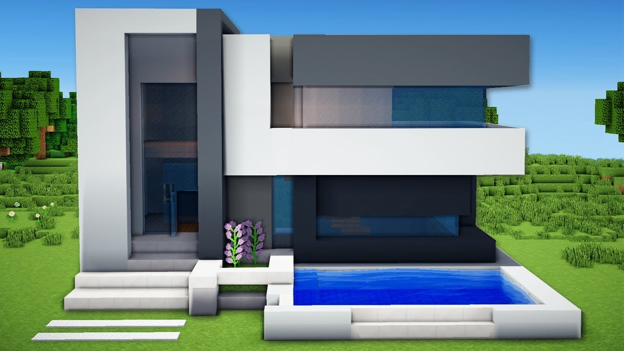 Minecraft small easy modern house tutorial how to for How to build a modern home