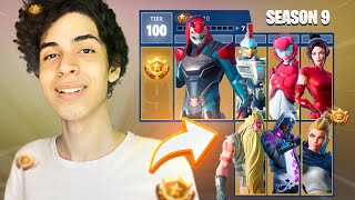I BOUGHT the ENTIRE BATTLE PASS FROM SEASON 9 * TIER 100 *-Fortnite (season 9)