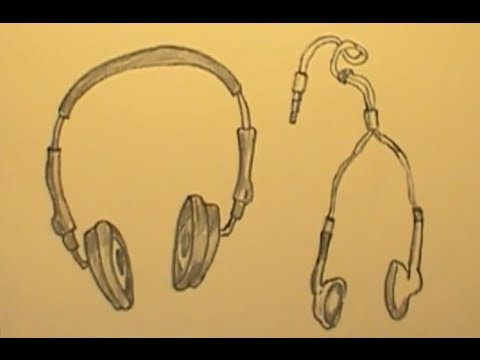 How to Draw Headphones / Earphones Quickly - YouTube