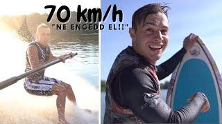JÁTÉK A VIZEN - 70 km/h -val mezítláb csúszás a vizen!!