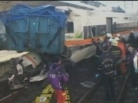 Train crashes into truck at Taiwan railway crossing