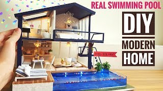 Diy Miniature Modern Party Home  With Real Swimming Pool