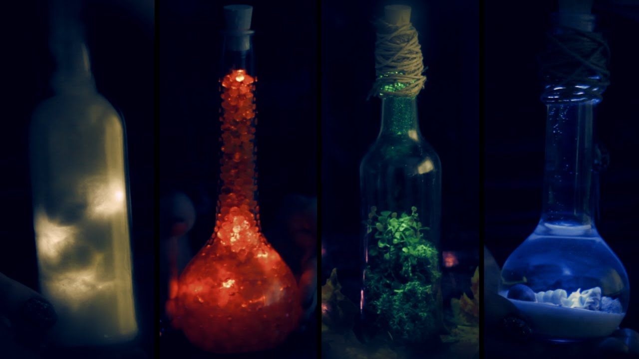 Diy Elements In A Bottle Halloween Room Decor Earth Air Water Fire Youtube