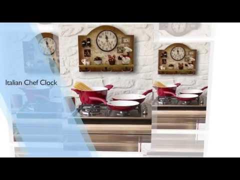Home Kitchen Decor Clock- Italian Chef