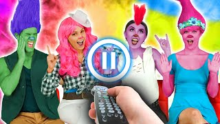 PAUSE CHALLENGE WITH TROLLS WORLD TOUR CHARACTERS. ULTIMATE PRANK CHALLENGE. Totally TV Parody