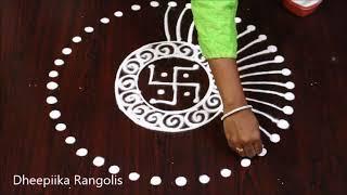 creative swastik rangolis design without dots * friday kolam design * easy muggulu design