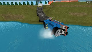 Thomas and Friends Thomas James Percy the train Plunge into the water in Roblox video for kids