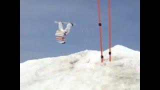 2008年 3月15日 九重スキー場のキッカーでフロントフリップして...