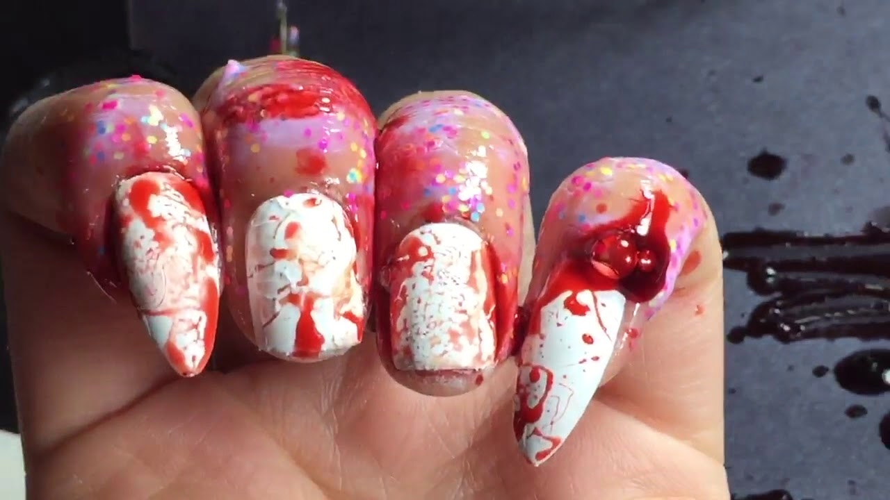 VAMPIRE FANG NAIL ART - About to get bloody! - YouTube