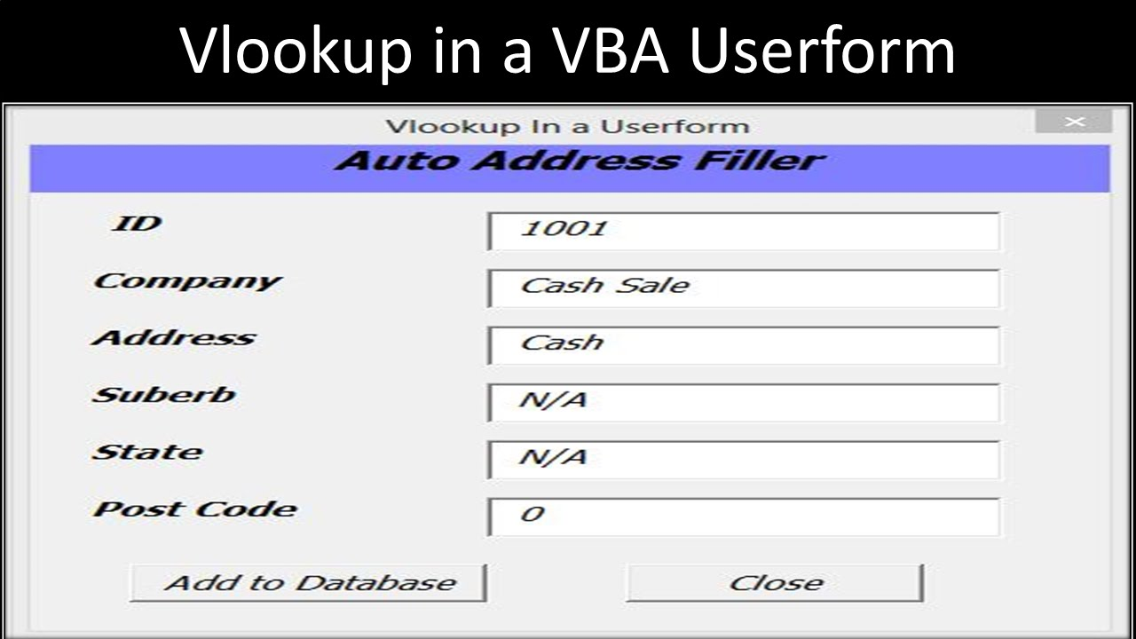 Excel VBA Userform with Vlookup - YouTube