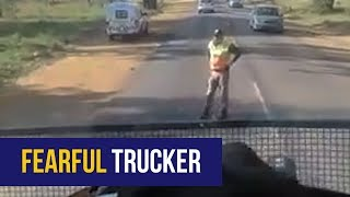 A video of a Namibian-registered truck refusing to pull off the roa...