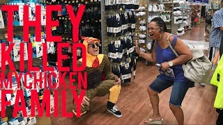 Sword fight and dead chicken family at WalMart !!?LMAO