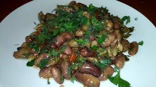 Фасоль с грибами в горшочках. Постное блюдо