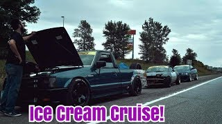 Team Small Crimes hits Ice Cream Cruise! (Drift Truck, Turbo Miata, and E36 Vert)
