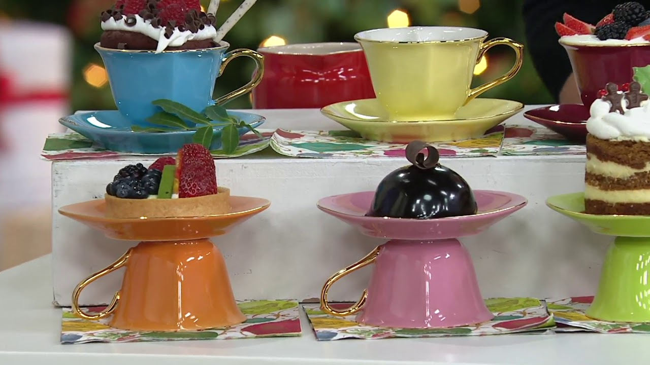 Yedi Inside Out Heart Set of 6 6.5oz Tea Cup & Saucer Set on QVC ...