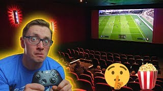 We played FIFA 19 at the Cinema on a MASSIVE Film Screen (Surprise Party)