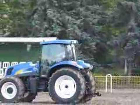 little boy testdriving a big blue tractor youtube