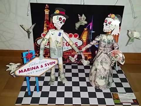 Bewegtes Geldgeschenk Wackelkopf Brautpaar Las Vegas Andorras Art