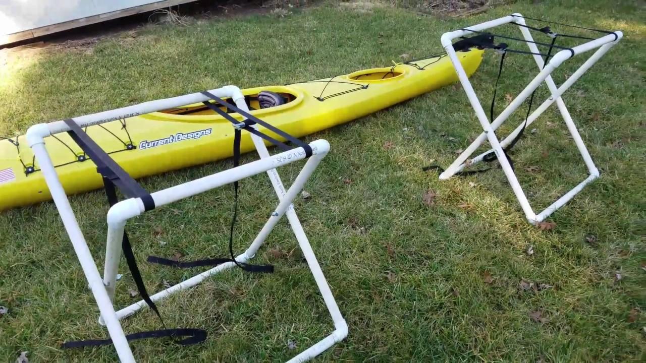 Kayak Stand Designs : Diy portable pvc kayak stand youtube