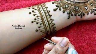 EID/Rakhi 2019 Special Easy Stylish Jewellry Mehndi Design for Front Hand || Arham Mehndi Designs